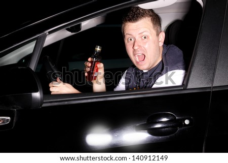 Drunk driver pulls into the path straight into another car - stock photo