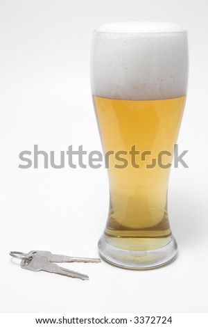 Drunk Driving Concept - Beer, and Car Keys - stock photo