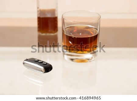 Drunk driving - the cause of car accidents. Drink driver. Bottle and keys. - stock photo