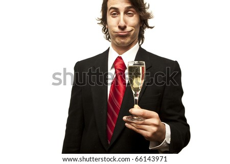 drunk guy holding champagne glass on a white background - stock photo
