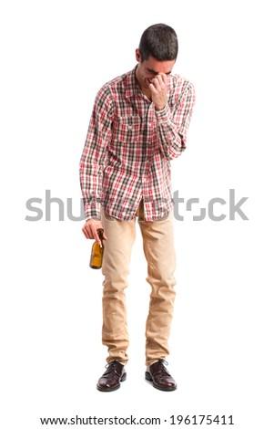 drunk man laughing - stock photo