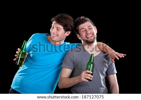 Drunk men friends after party on isolated background - stock photo