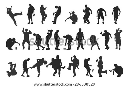 drunk people isolated on a white background