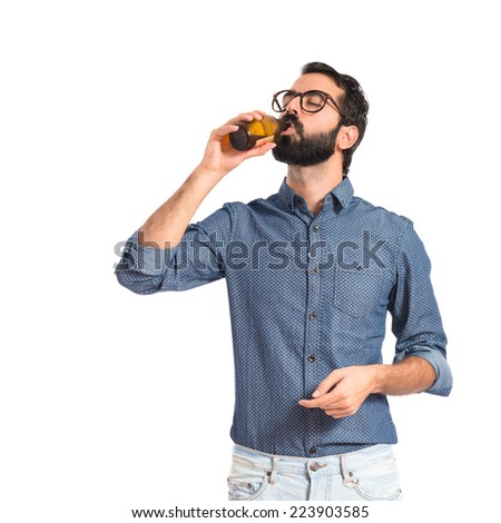 Drunk person drinking beer  - stock photo