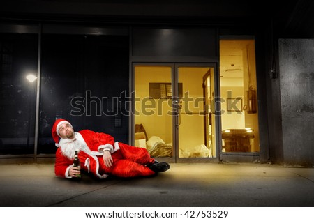 drunk Santa outside home - stock photo
