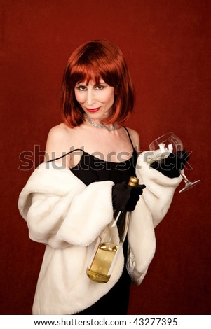 Drunk socialite with wine bottle and glass - stock photo