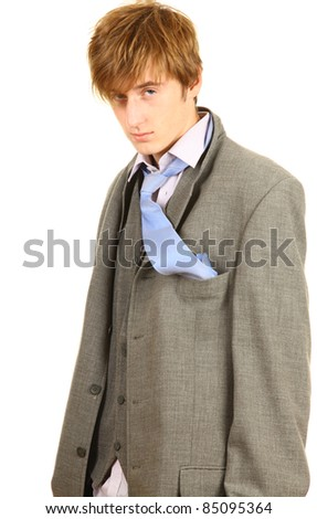 drunk young; businessman in grey suit with blue necktie - stock photo