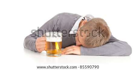 drunk young handsome man with beer, white background
