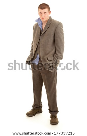 drunk young man, white background - stock photo