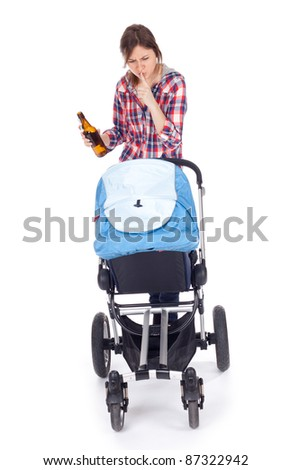 drunk young mother with baby buggy (stroller), white background - stock photo