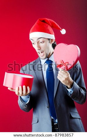 Drunken businessman after office christmas party - stock photo
