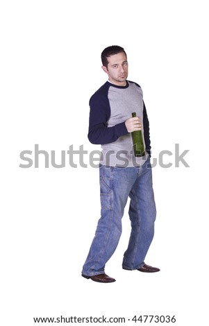 Drunken Man Holding a Wine Bottle Trying to Keep his Balance - Isolated Background - stock photo