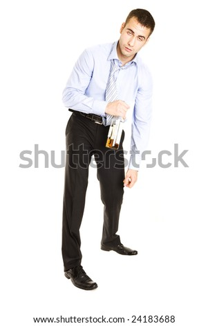 Drunken man passed out from drinking alcohol. Isolated over white - stock photo