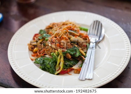 Drunken noodles fried with pork in white disk - stock photo