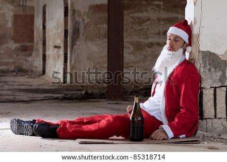 Drunken Santa Sleeping on the Floor - stock photo