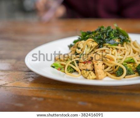drunken Spaghetti - Stir Fried Spicy Spaghetti With chicken (Thai Food) - stock photo