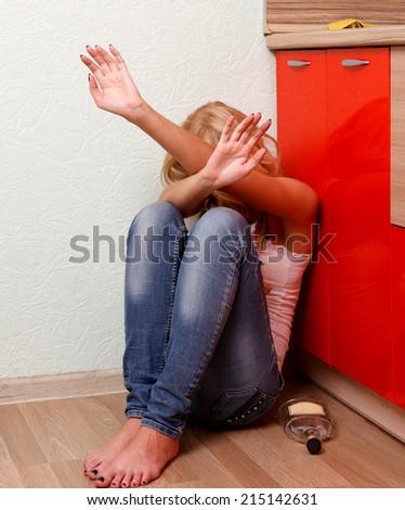 Drunken woman  - stock photo