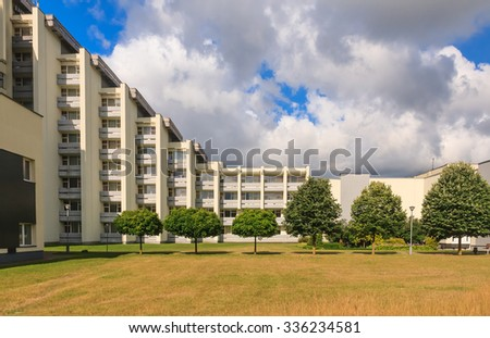 DRUSKININKAI, LITHUANIA - JULY 12, 2015: The complex of the sanatorium Egles in Druskininkai, Lithuania. Egles is treatment and rehabilitation center with therapeutic mud and mineral water pump room