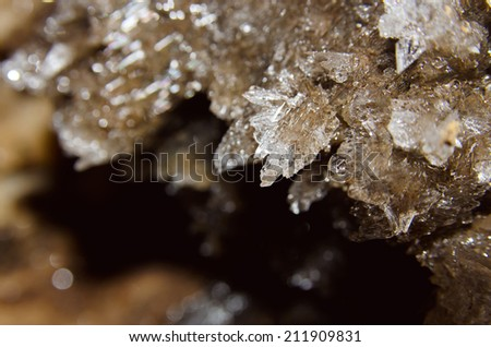 Druze crystals in the cave - stock photo
