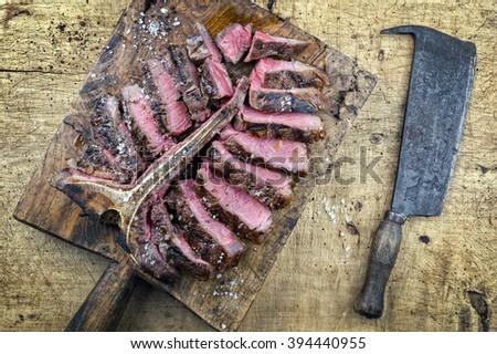 Dry Aged Barbecue Porterhouse Steak - stock photo
