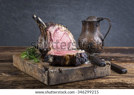 Dry Aged Barbecue Rib of Beef - stock photo