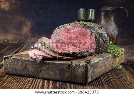 Dry Aged Barbecue Roast Beef - stock photo