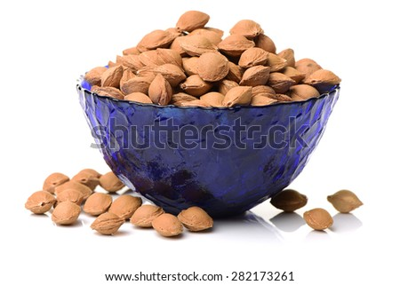 Dry apricot nut on white background - stock photo
