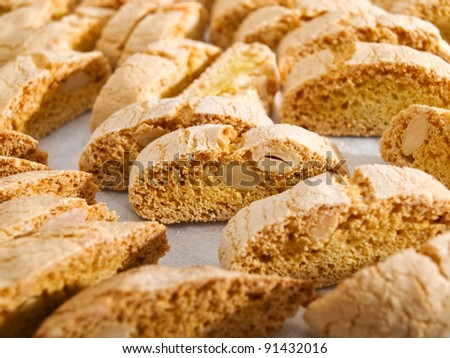 Dry Cantuccini cookies characteristic for Christmas holidays. - stock photo