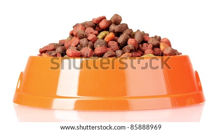 Dry cat food in bowl isolated on white - stock photo