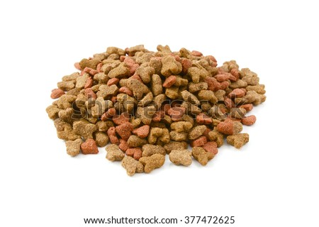 Dry cat food, shaped kitty kibble in a heap, isolated on a white background
