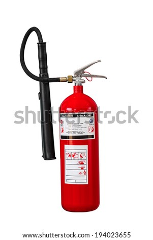 Dry chemical fire extinguisher on white background with clipping path - stock photo