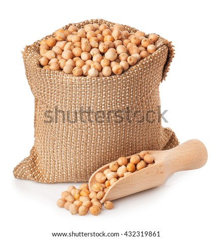 Dry chickpeas in sack with scoop isolated on white background. Chickpeas in burlap bag on white background isolate - stock photo