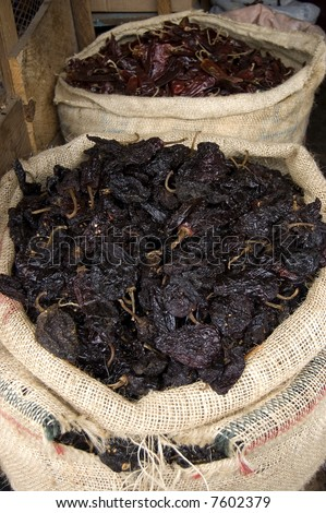 Dry Chiles for sale in a market in chiapas, mexico - stock photo