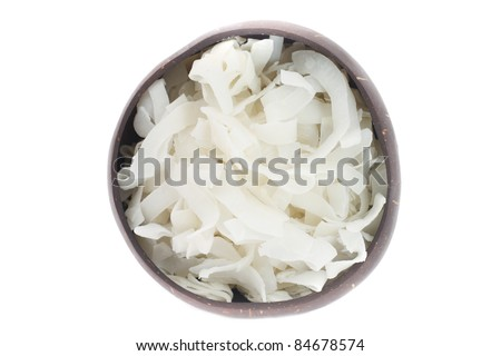 dry coconut in the coconut plate