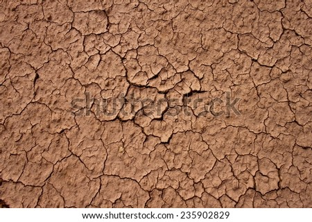 Dry cracked dirt in desert, Morocco - stock photo
