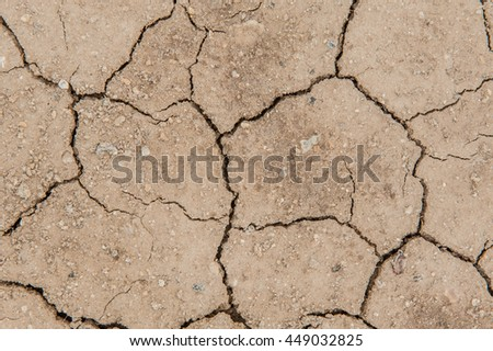 Dry cracked earth, Dry cracked earth background, clay desert texture, cracked soil ground into the dry season. - stock photo
