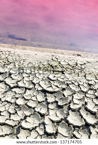 Dry cracked earth near polluted lifeless lake.