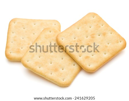 Dry cracker cookies isolated on white background cutout - stock photo