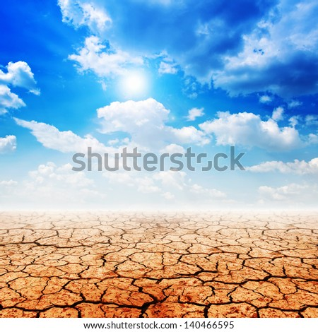 Dry desert land against a blue sky with clouds