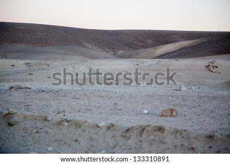 Dry desert landscape from the Middle Eastern country of Jordan