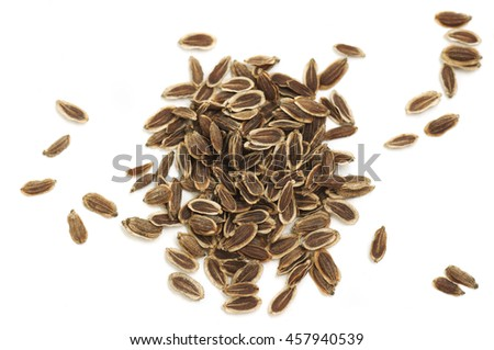 dry dill seeds on a white background