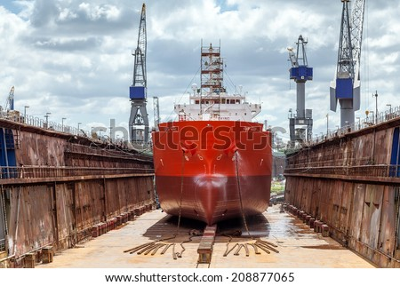 Dry dock with ship on maintenance in the port of Rotterdam