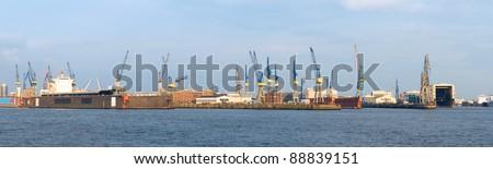 Dry docks in harbor Hamburg in Germany - stock photo