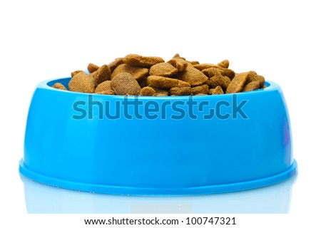 dry dog food and water in blue bowl isolated on white - stock photo