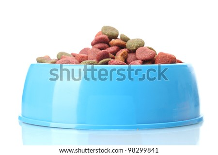 dry dog food in blue bowl  isolated on white - stock photo