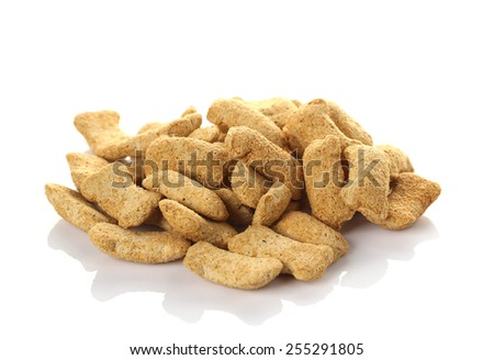 Dry dog food isolate on white - stock photo