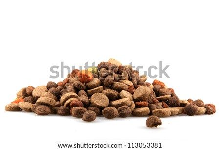 dry dog food isolated on white. - stock photo