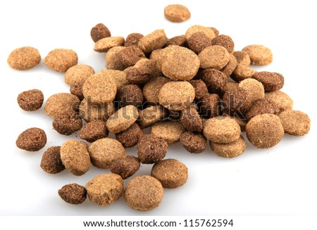 dry dog food isolated on white.