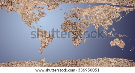 dry earth displayed as a 2d map, For map used open source http://visibleearth.nasa.gov/view_rec.php?id=2433 - stock photo