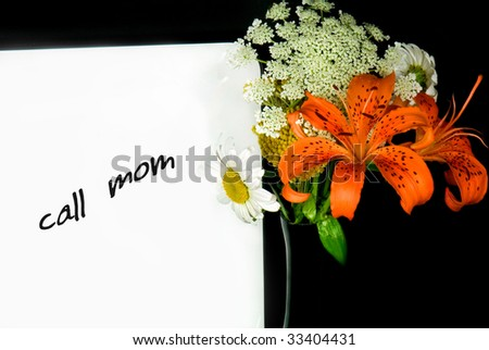 dry erase board message with flower bouquet